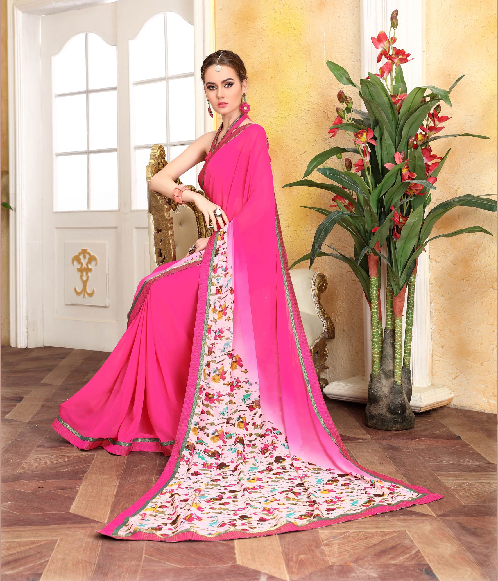 Riveting Pink Georgette Digital Printed Designer Saree