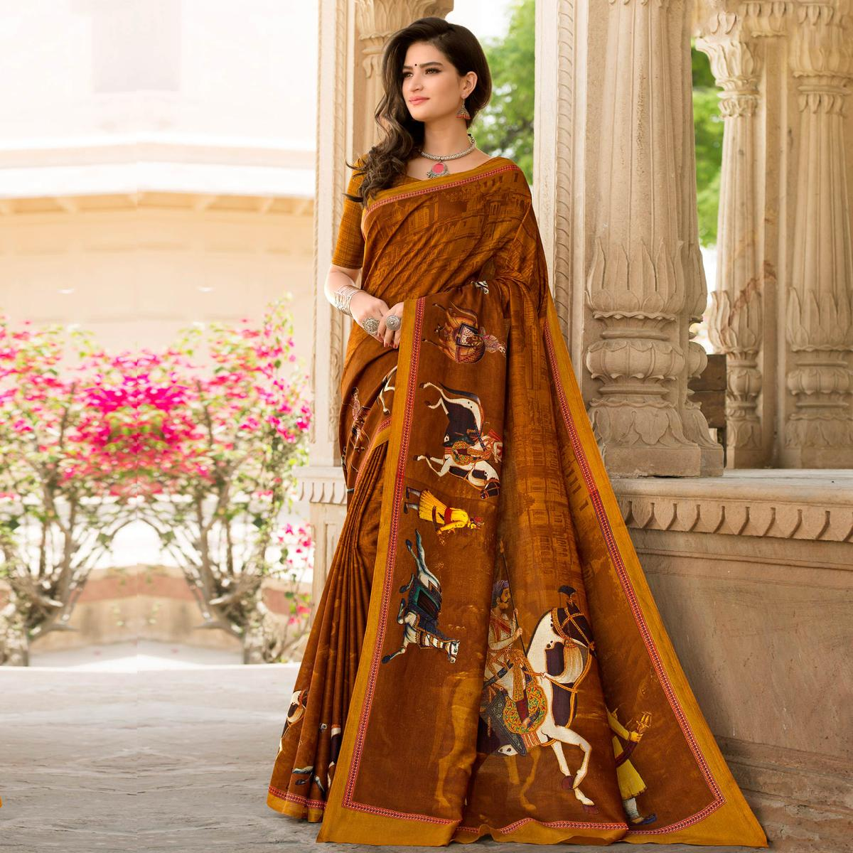 Brown Colored Casual Printed Tussar Art Silk Saree