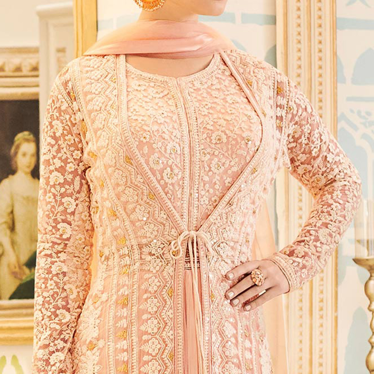 Cool Light pink Designer Heavy Embroidered Net Lehenga Kameez