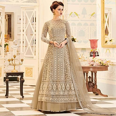 Lovely Beige Designer Heavy Embroidered Net Lehenga Kameez