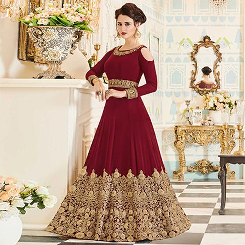 Ravishing Maroon Designer Heavy Embroidered Silk-Georgette Anarkali