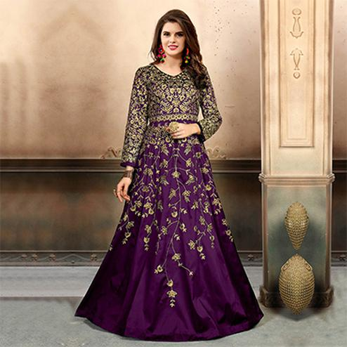 Flattering Purple Colored Designer Party Wear Art Silk Anarkali Suit