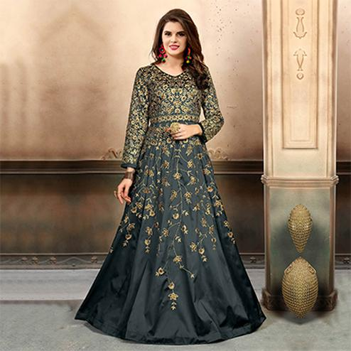 Innovative Grey Colored Designer Party Wear Art Silk Anarkali Suit