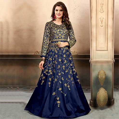 Desirable Blue Colored Designer Party Wear Art Silk Anarkali Suit