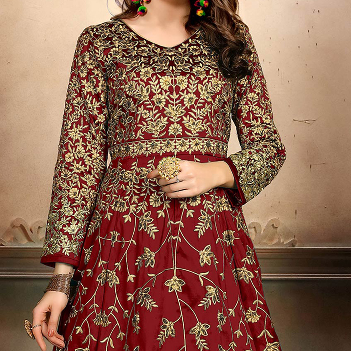 Alluring Maroon Colored Designer Party Wear Art Silk Anarkali Suit