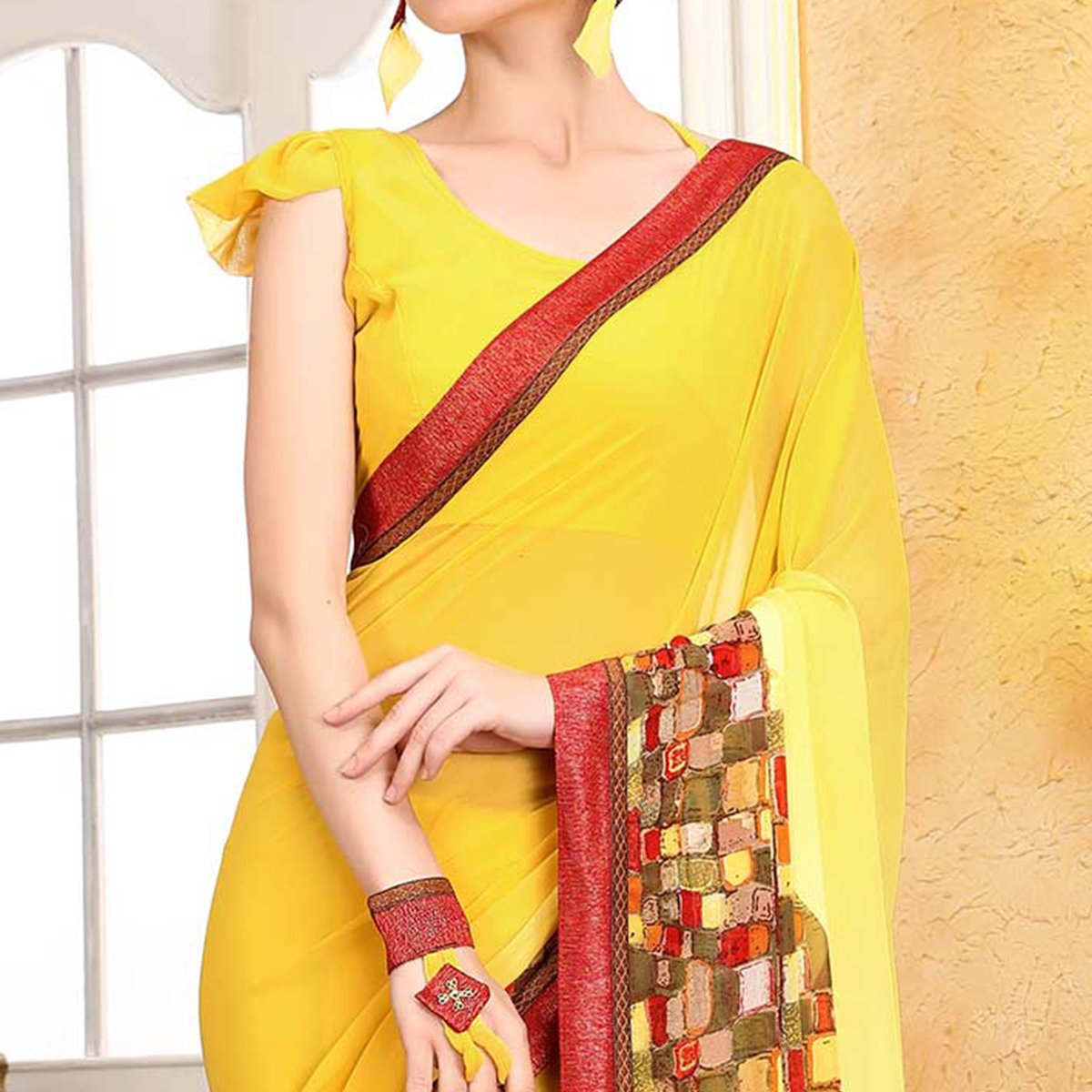 Graceful Yellow Georgette Digital Printed Designer Saree
