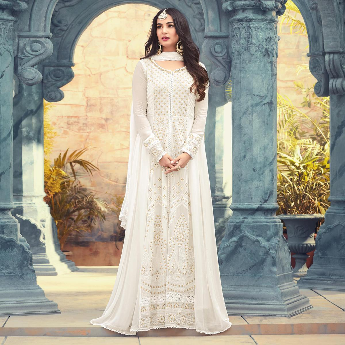 1c9fdd1024 Buy Ravishing White Colored Designer Embroidered Party Wear Heavy Georgette Anarkali  Suit for womens online India, Best Prices, Reviews - Peachmode