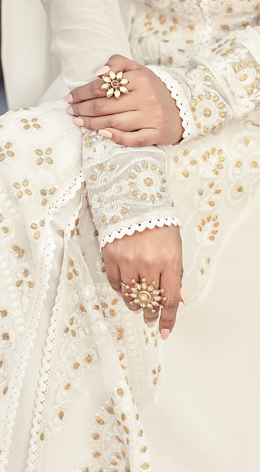 Ravishing White Colored Designer Embroidered Party Wear Heavy Georgette Anarkali Suit
