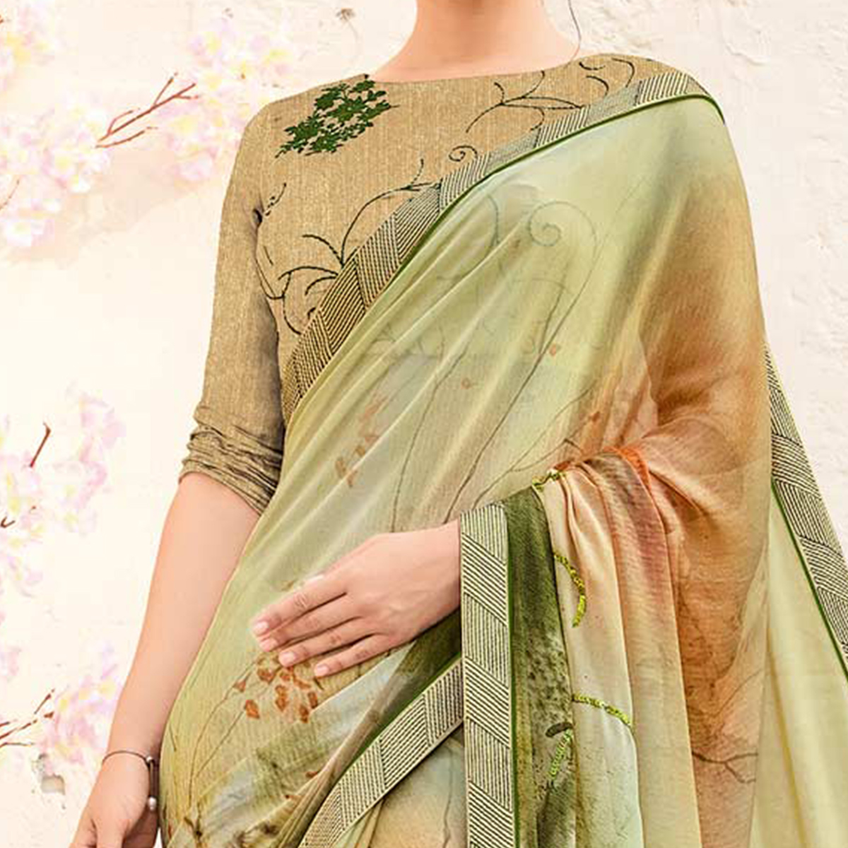 Adorable Beige & Multi Colored Printed Party Wear Chiffon Saree