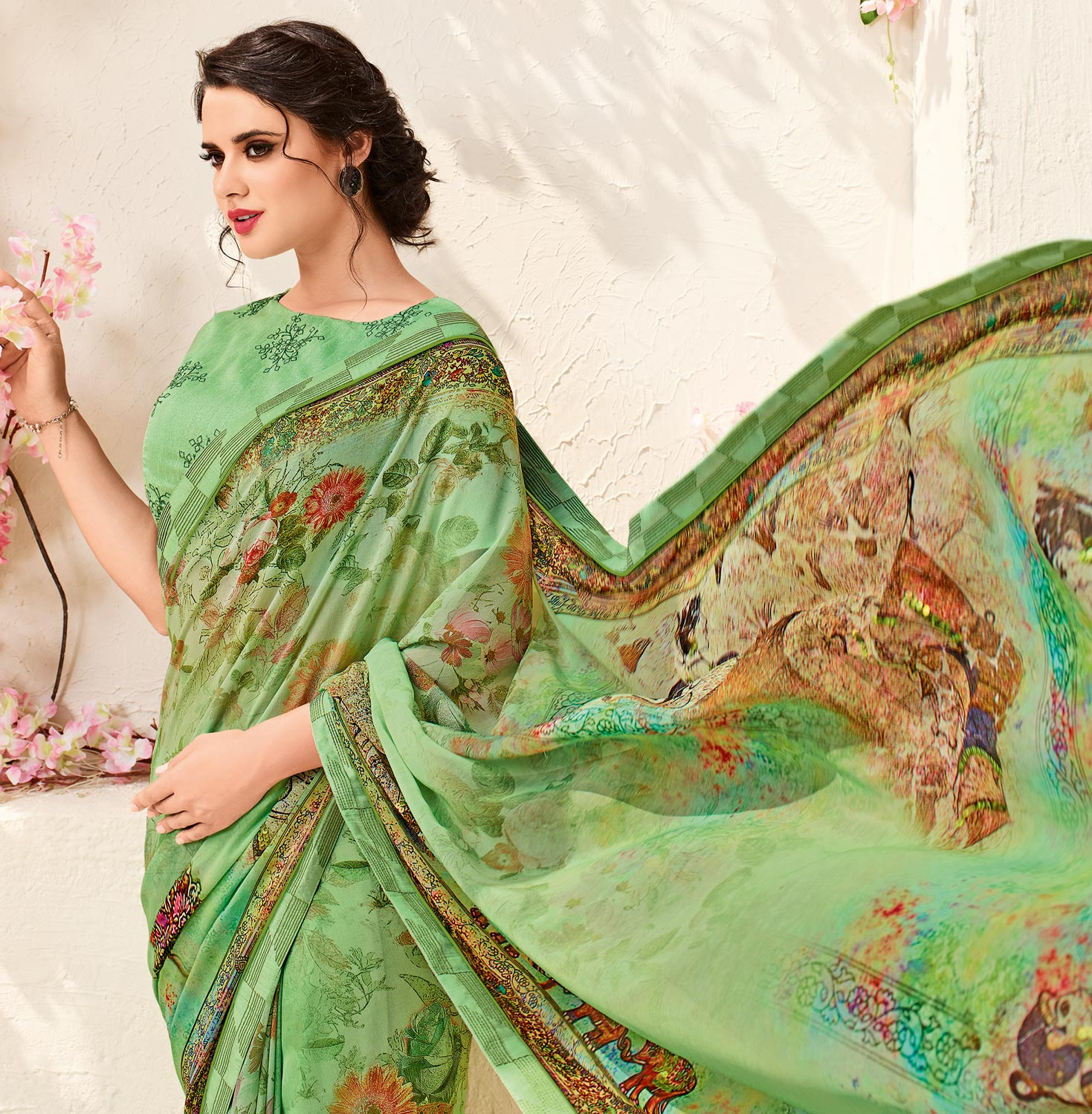 Gorgeous Green Colored Printed Party Wear Chiffon Saree