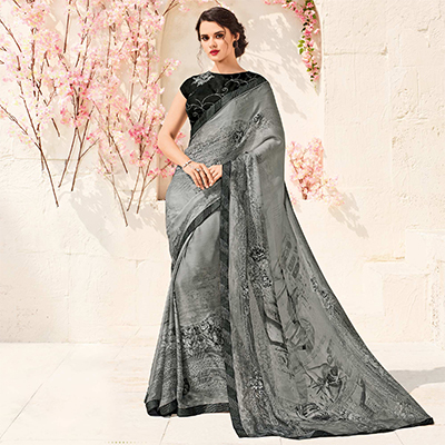 Glorious Grey Colored Printed Party Wear Chiffon Saree