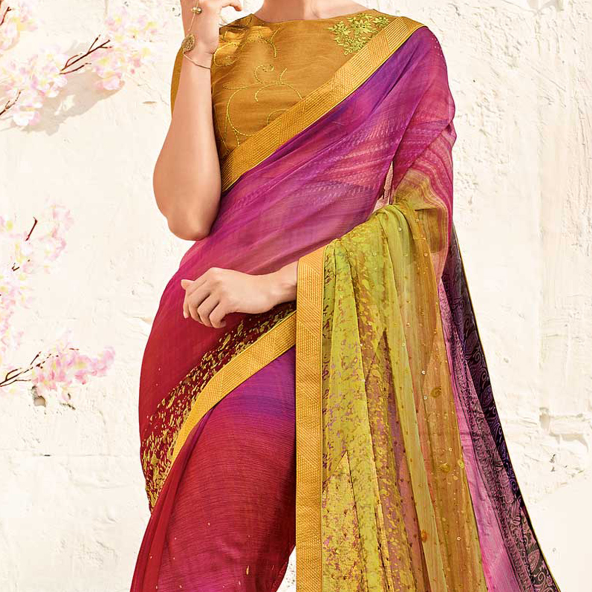 Pretty Magenta Pink Colored Printed Party Wear Chiffon Saree