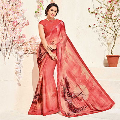 Ravishing Dark Peach Colored Printed Party Wear Chiffon Saree