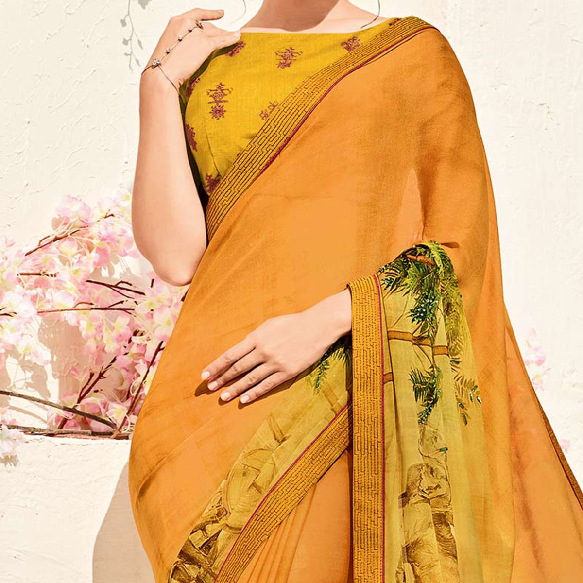 Delightful Mustard Yellow Colored Printed Party Wear Chiffon Saree