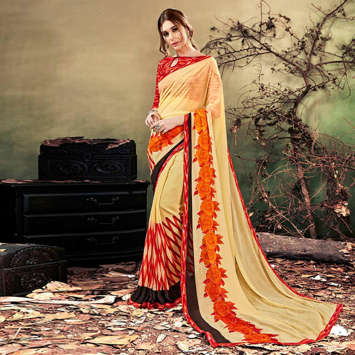 Beige Colored Casual Wear Printed Chiffon Saree