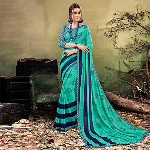 Sea Green Colored Casual Wear Printed Chiffon Saree