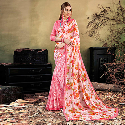 Pink Colored Casual Wear Printed Chiffon Saree
