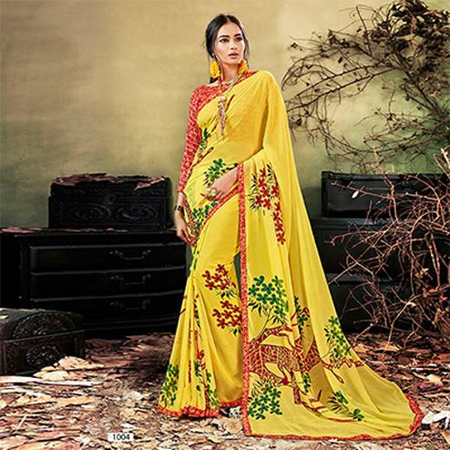 Yellow Colored Casual Wear Printed Chiffon Saree