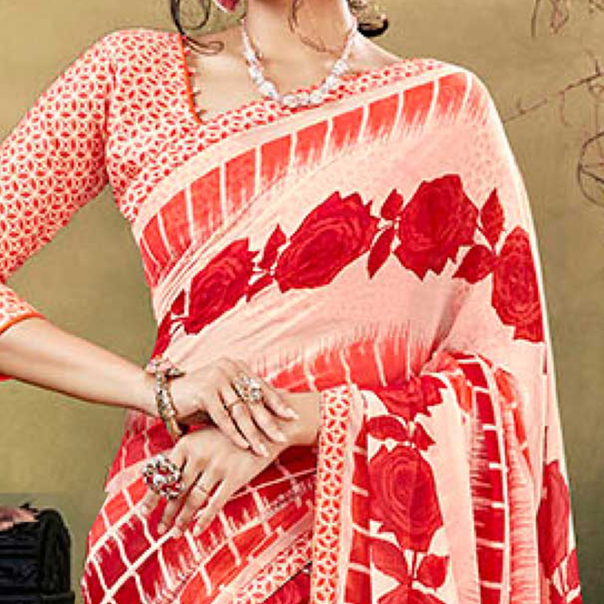 Red Colored Casual Wear Printed Chiffon Saree
