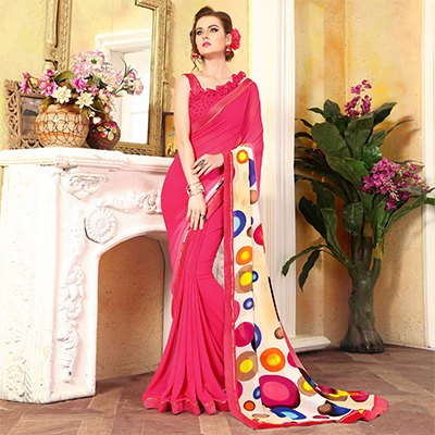 Trendy Pink Georgette Digital Printed Designer Saree