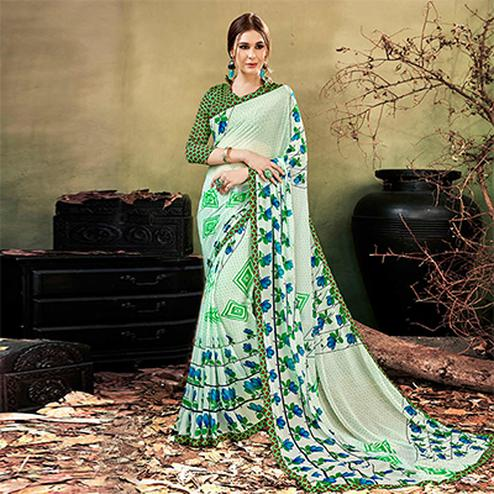 Pista Green Colored Casual Wear Printed Chiffon Saree
