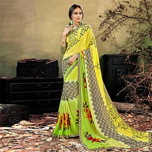 Yellow - Light Green Colored Casual Wear Printed Chiffon Saree