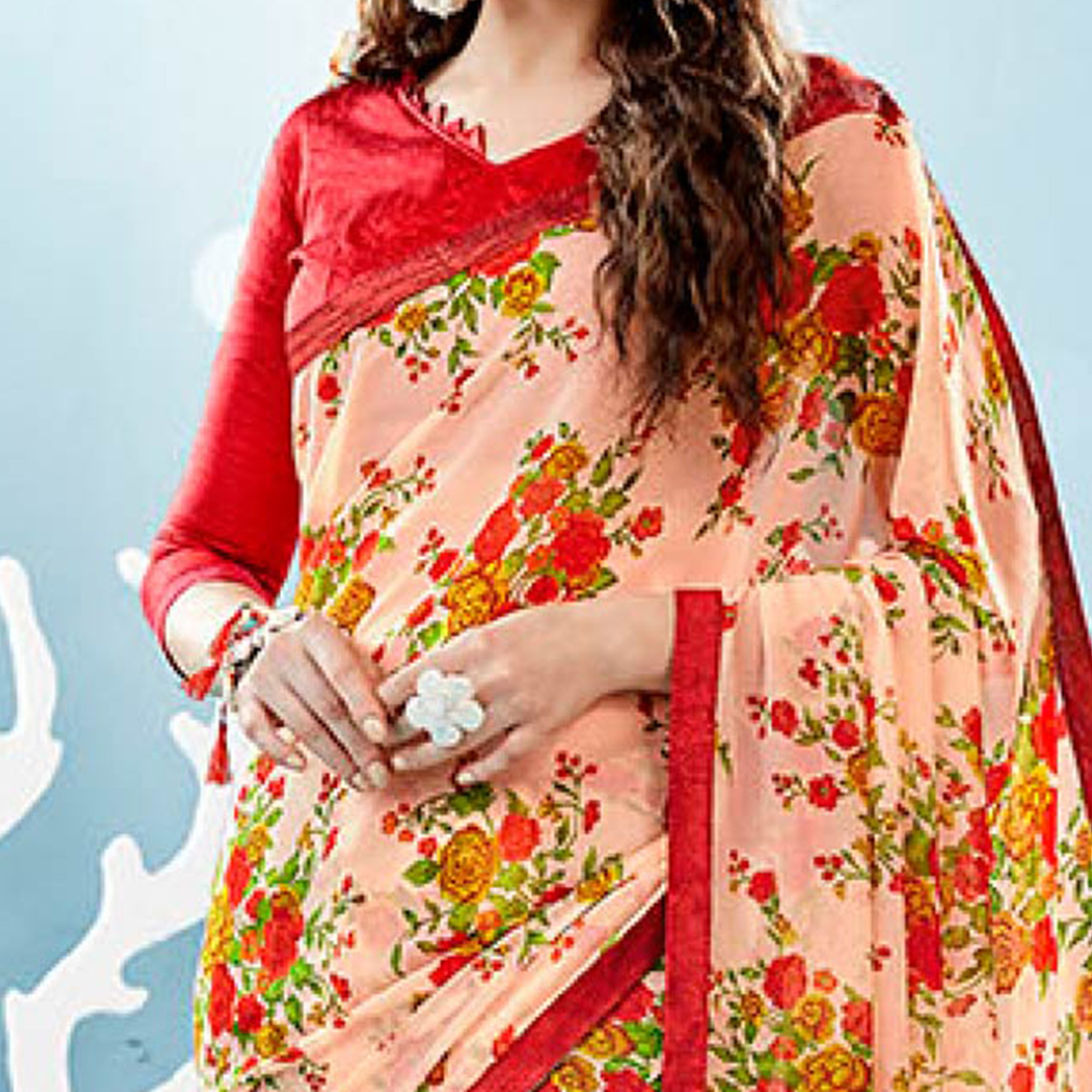 Peach Colored Casual Wear Floral Printed Chiffon Saree