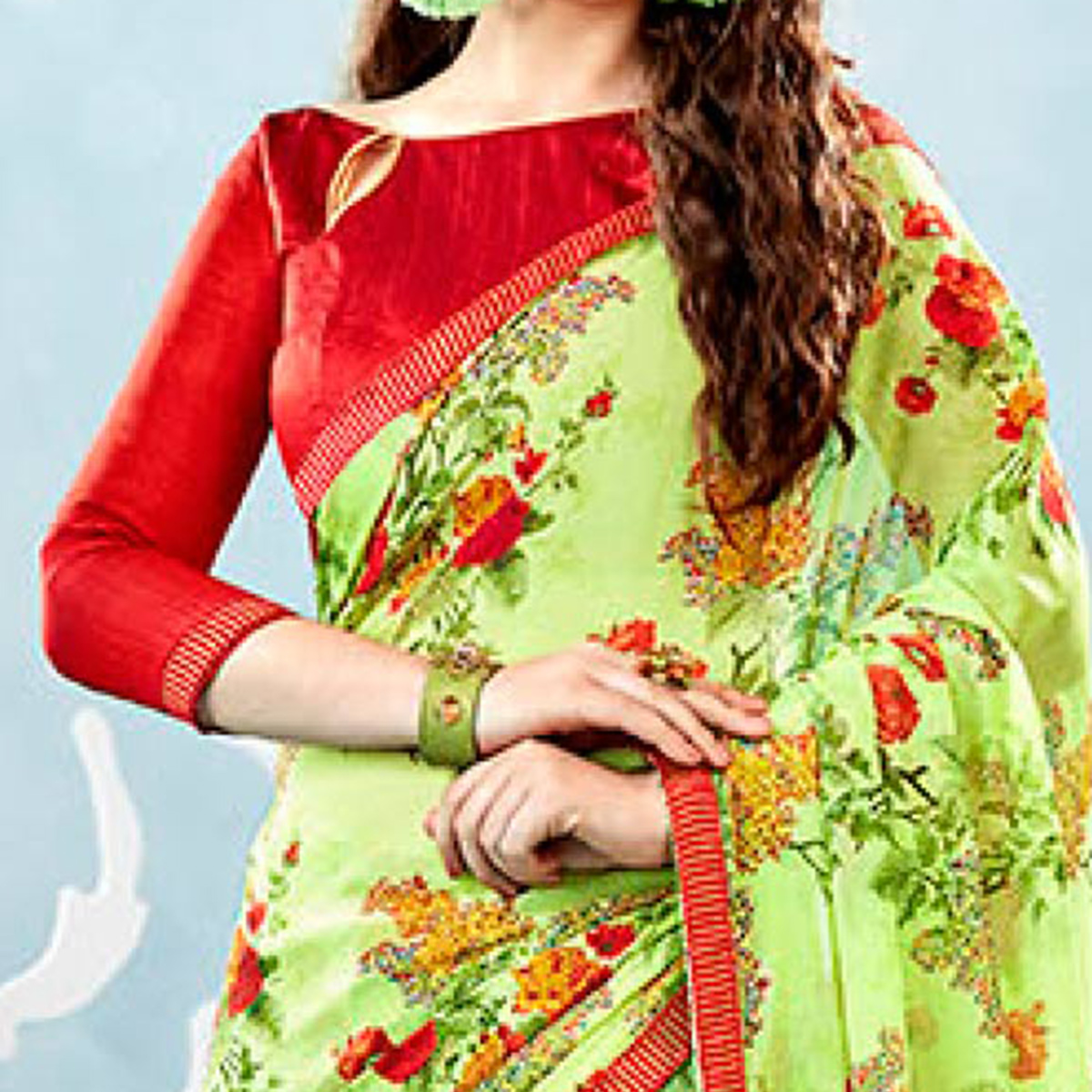Light Green Colored Casual Wear Floral Printed Chiffon Saree