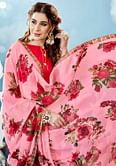 Baby Pink Colored Casual Wear Floral Printed Chiffon Saree
