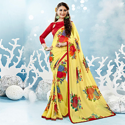 Yellow Colored Casual Wear Floral Printed Chiffon Saree