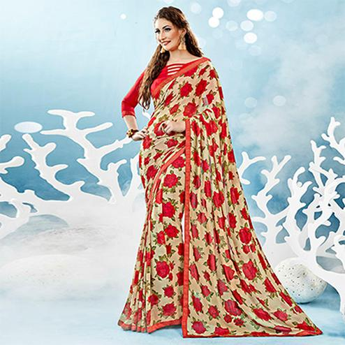 Beige-Red Colored Casual Wear Floral Printed Chiffon Saree