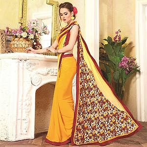 Whimsical Yellow Georgette Digital Printed Designer Saree