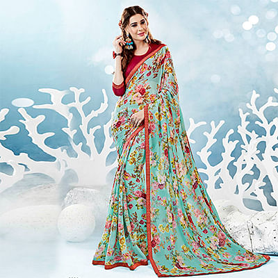 Sky Blue Colored Casual Wear Floral Printed Chiffon Saree