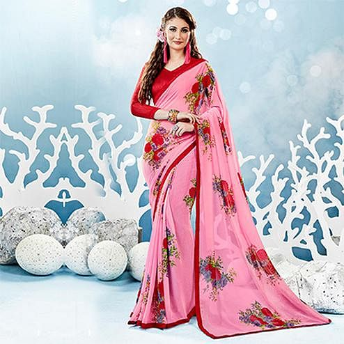 Baby Pink Colored Casual Floral Printed Chiffon Saree