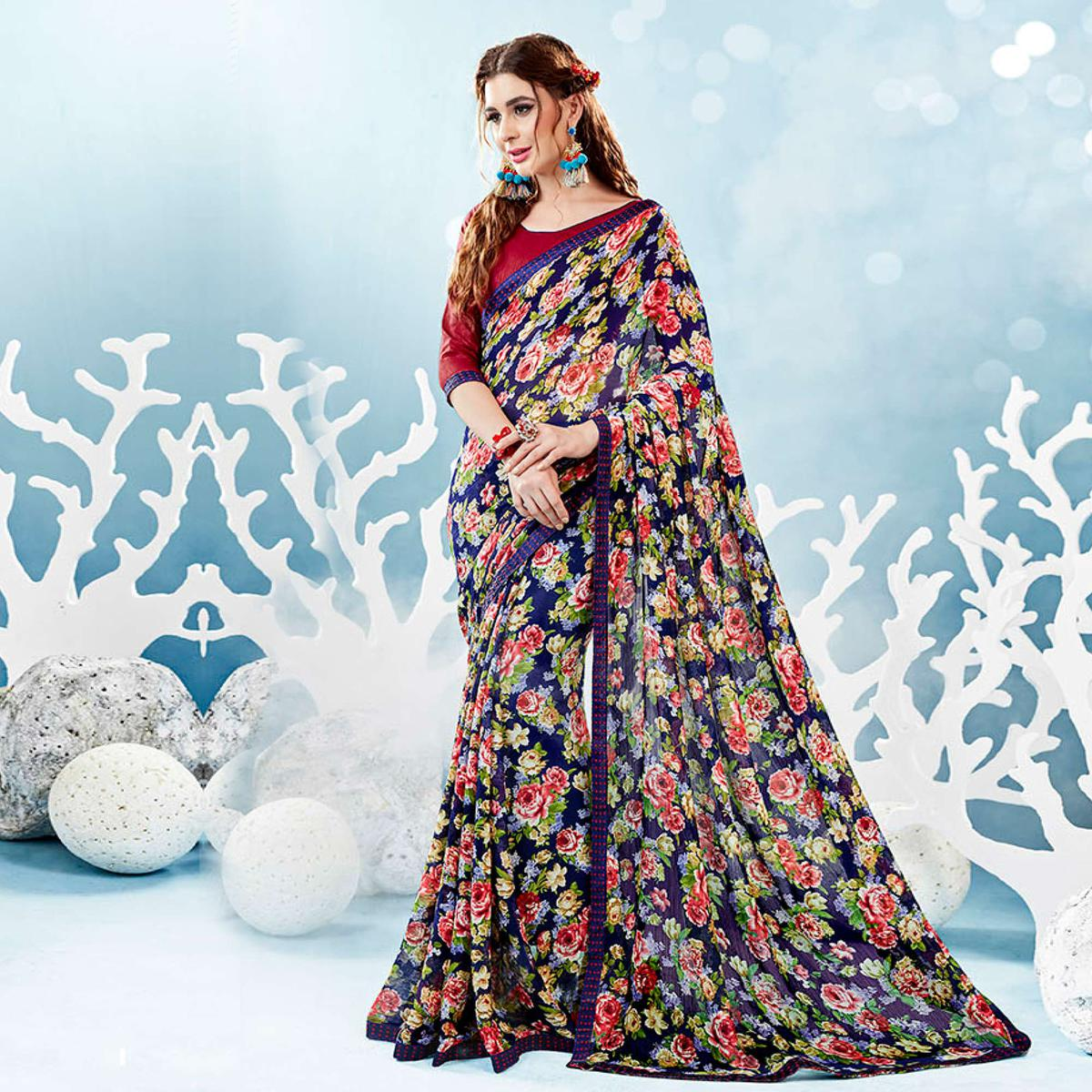 Blue Colored Casual Wear Floral Printed Chiffon Saree