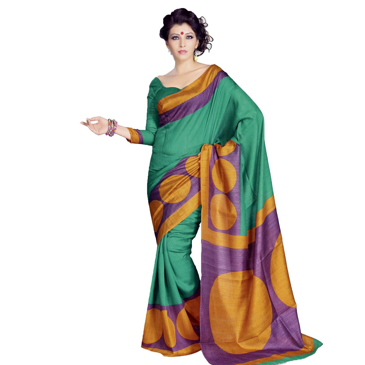 Green Bhagalpuri Silk Printed Saree