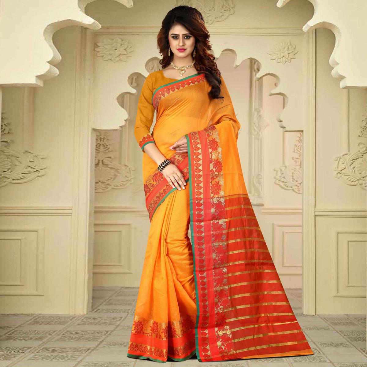 Classy Orange Colored Festive Wear Traditional Heavy Banarasi Silk Saree