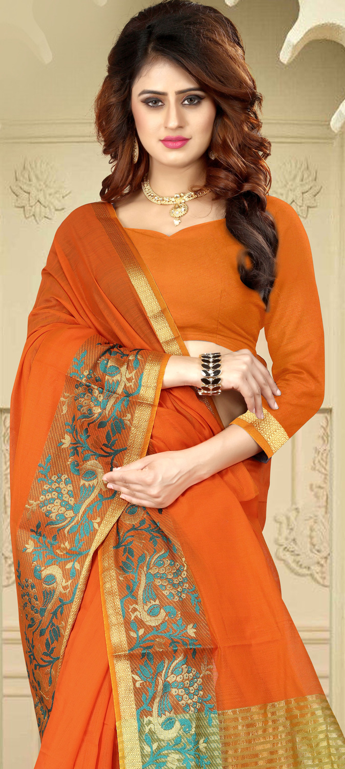 Mesmerising Orange Colored Festive Wear Traditional Heavy Banarasi Silk Saree