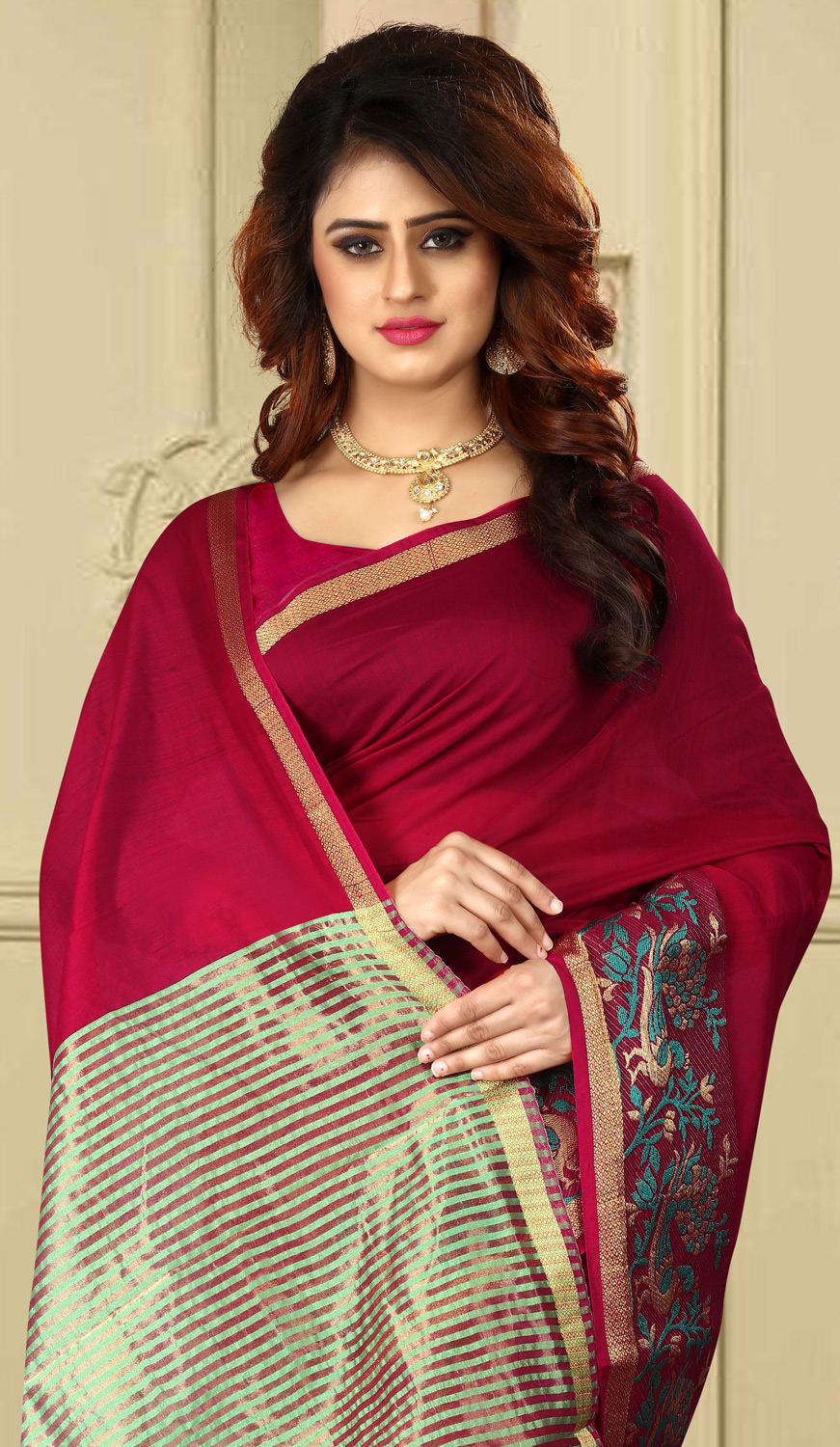 Attractive Maroon Colored Festive Wear Traditional Heavy Banarasi Silk Saree