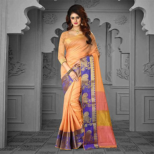 Majestic Peach Colored Festive Wear Traditional Heavy Banarasi Silk Saree