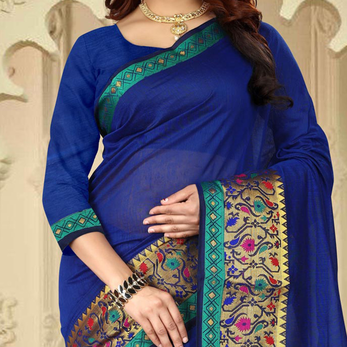 Pretty Blue Colored Festive Wear Traditional Heavy Banarasi Silk Saree