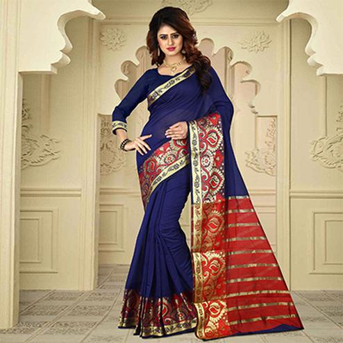 Pleasant Blue Colored Festive Wear Traditional Heavy Banarasi Silk Saree