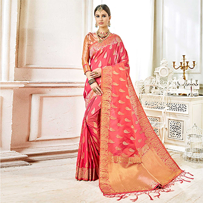 Adorable Pink Colored Festive Wear Woven Art Silk Saree