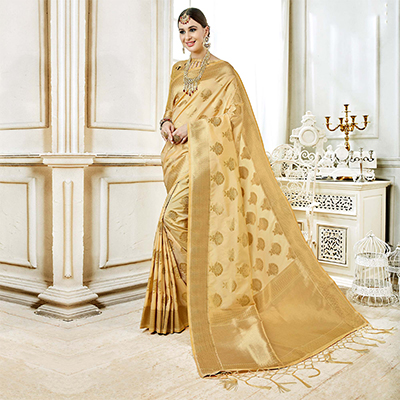 Attractive Beige Colored Festive Wear Woven Art Silk Saree