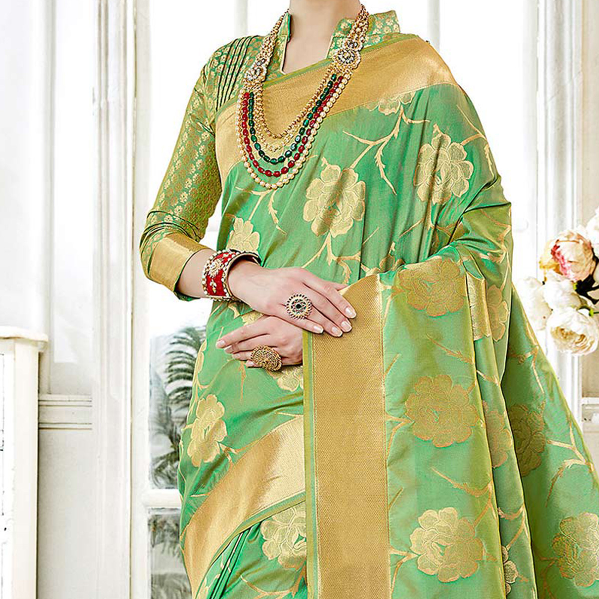Gorgeous Green Colored Festive Wear Woven Art Silk Saree