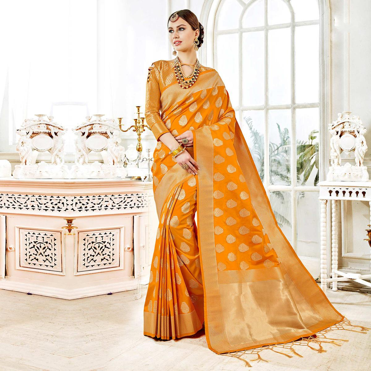 Glorious Mustard Yellow Colored Festive Wear Woven Art Silk Saree