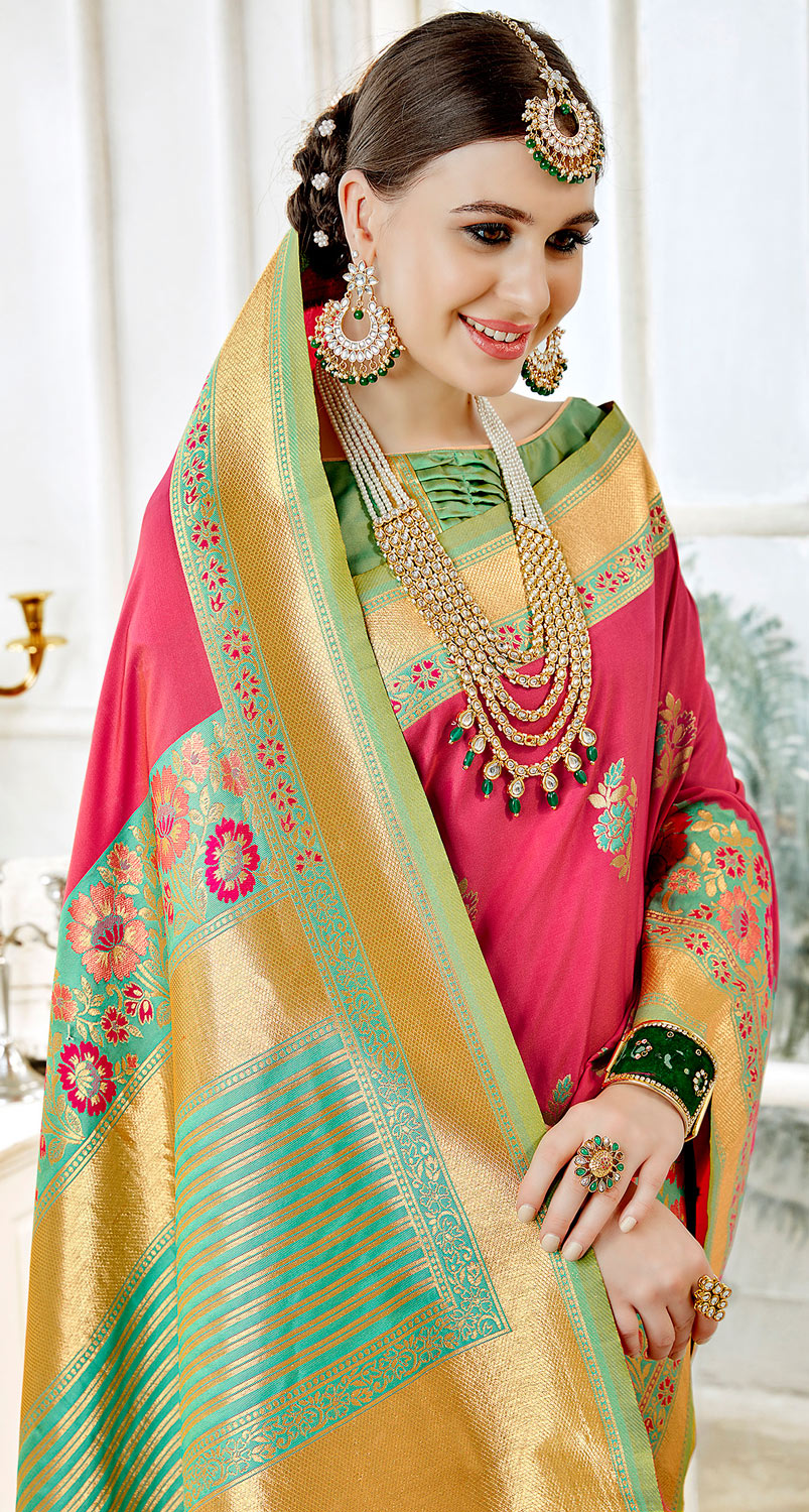 Beautiful Pink Colored Festive Wear Woven Art Silk Saree
