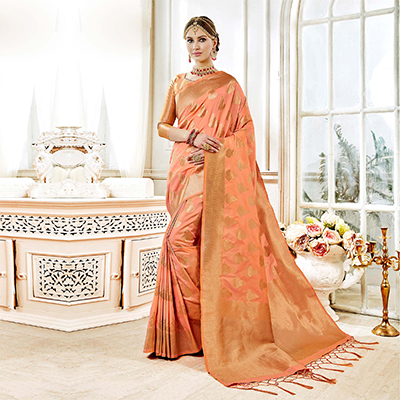 Eye-catching Peach Colored Festive Wear Woven Art Silk Saree
