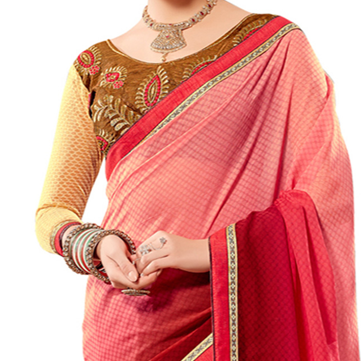 Eye-Catching Brown Colored Partywear Embroidered Georgette Half-Half Saree
