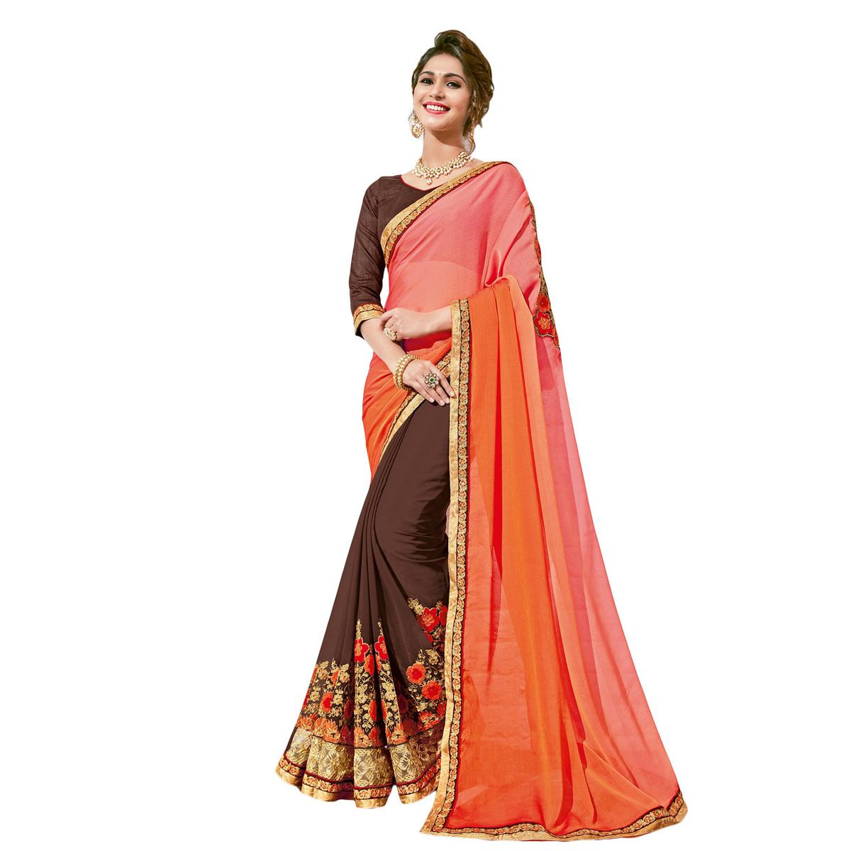 Attractive Brown-Pink Colored Partywear Embroidered Georgette Half-Half Saree